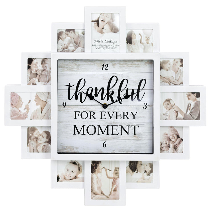 "White Farmhouse Shabby-Chic ""Thankful"" Picture Frame Wall Collage Clock"