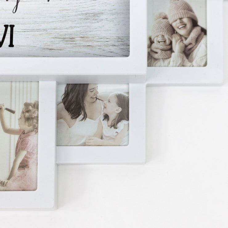 "White Farmhouse Shabby-Chic ""Memories"" Picture Frame Wall Collage Clock"