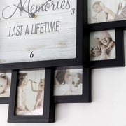 "Black  ""Lifetime Memories"" Picture Frame Wall Collage Clock"