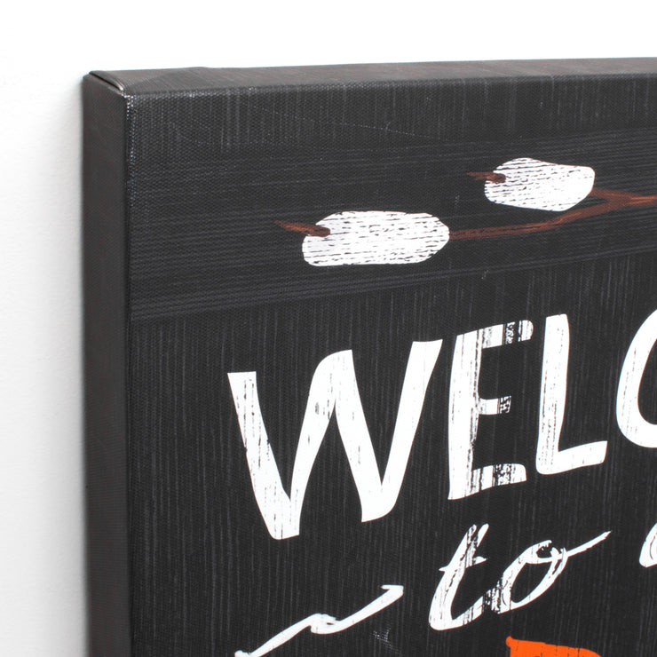Welcome to the Firepit Outdoor Canvas Art Print - 16x48