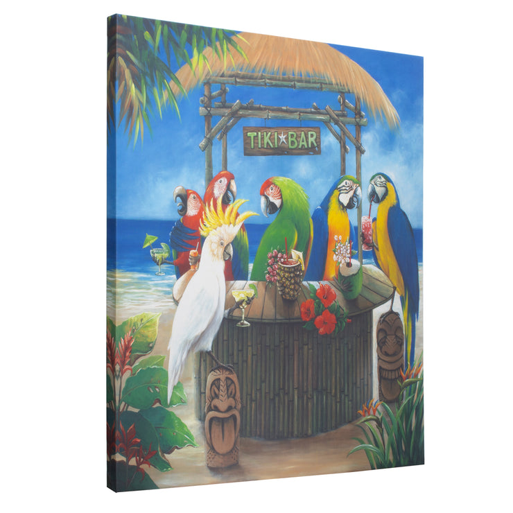 Tiki Birds Outdoor Canvas Art Print - 35x35