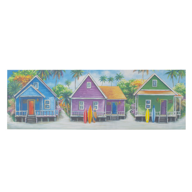 Coastal Cabins Crop Outdoor Canvas Art Print - 16x48