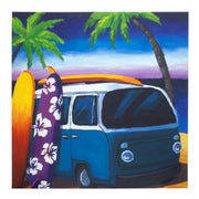 Surf Mini Bus Outdoor Canvas Art Print - 35x35