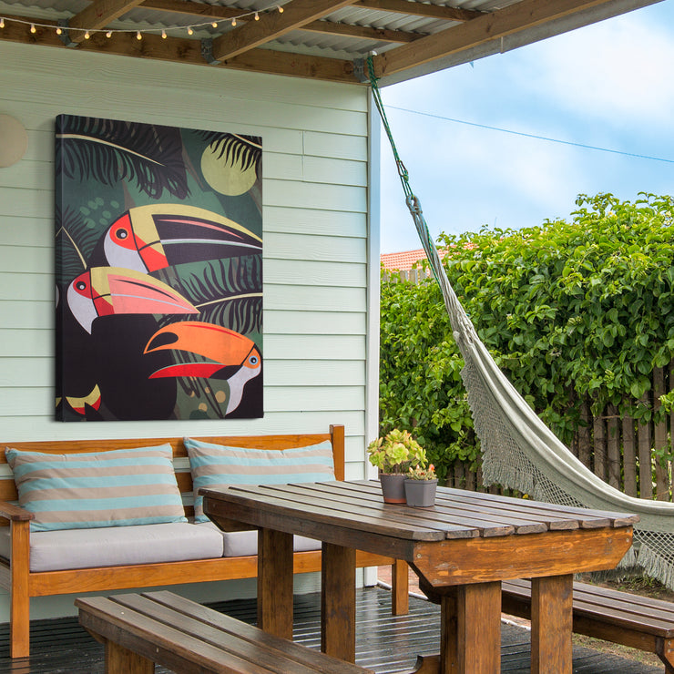 Tiki Birds Toucans Outdoor Canvas Art Print