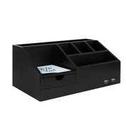 Black Wood All-in-One USB Charging Desk Organizer Caddy