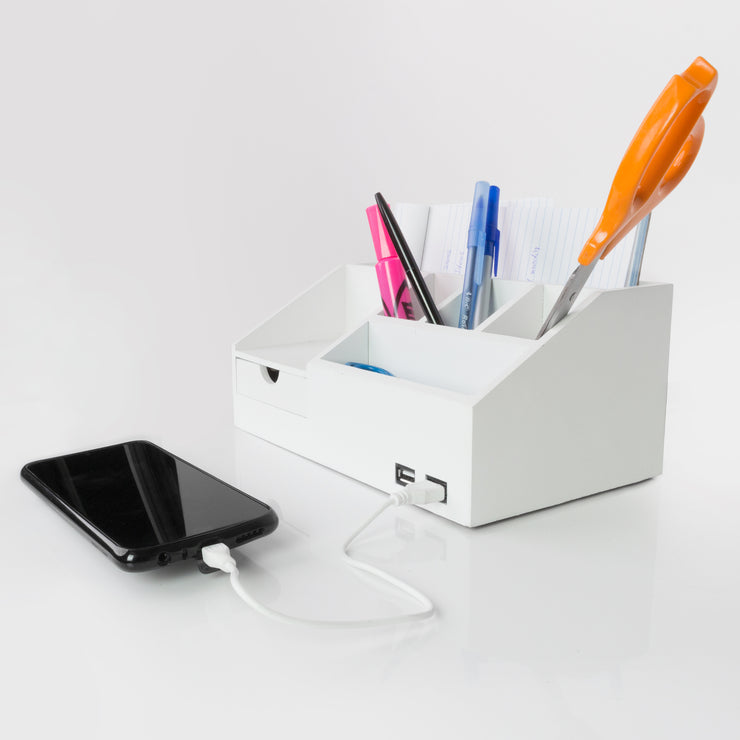 All-in-One Desk Organizer with USB Port - White