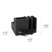 All-in-One Desk File Organizer with USB Charger - Black