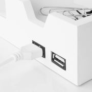 All-in-One Desk File Organizer with USB Charger - White
