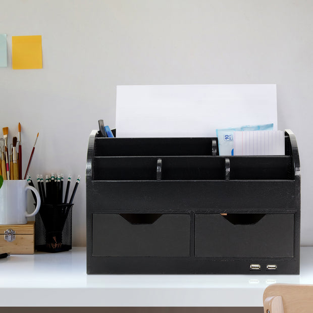 Space Saving Desk Organizer with USB Port - Black