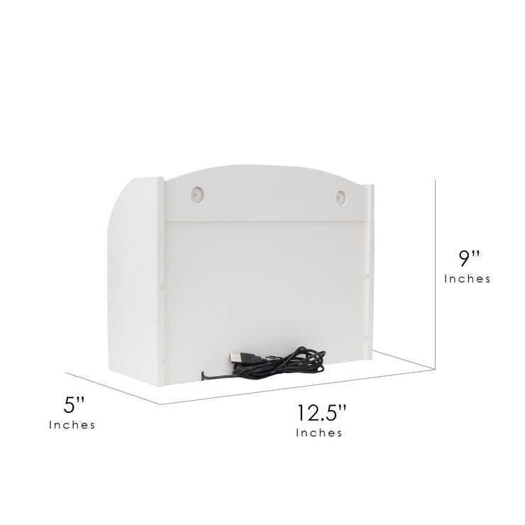 Space Saving Desk Organizer with USB Port - White