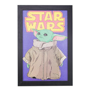 Licensed Star Wars Retro The Mandalorian Grogu Framed Wall Art - 13x19