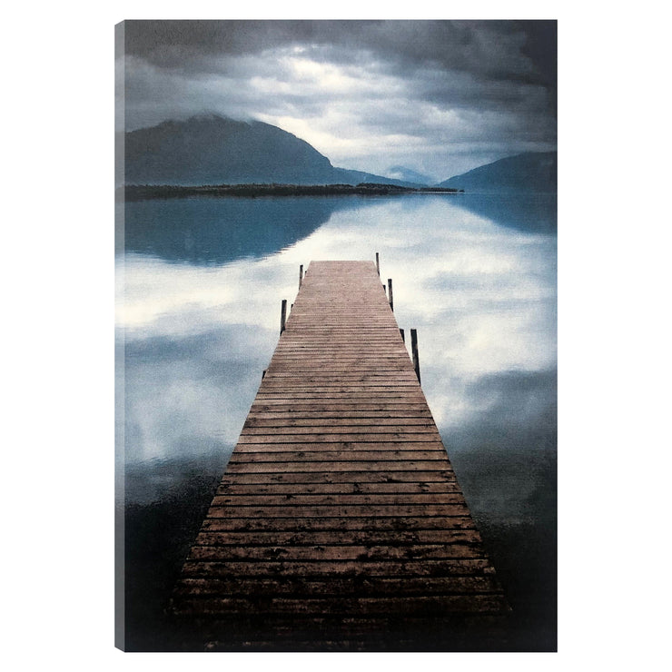 Scenic Lake Pier Outdoor Canvas Art Print - 28x40