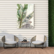 Tropical Watercolor Leaves Outdoor Canvas Print - 28x40