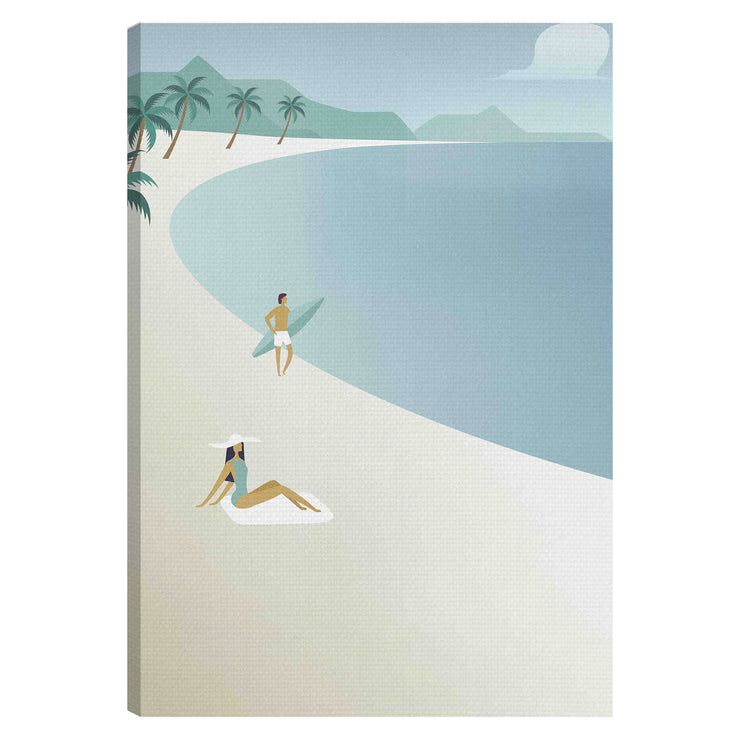 Vintage Tropical Illustration Outdoor Canvas Print - 28x40