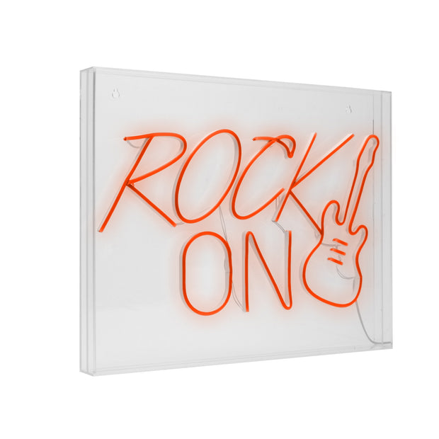 Rock On Guitar Neon Acrylic Box LED Sign