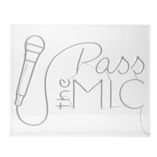 Neon LED Acrylic Box Sign - Pass the Mic