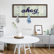 "Rustic Coastal ""Ahoy"" Framed Coat Rack, 5 Hooks"