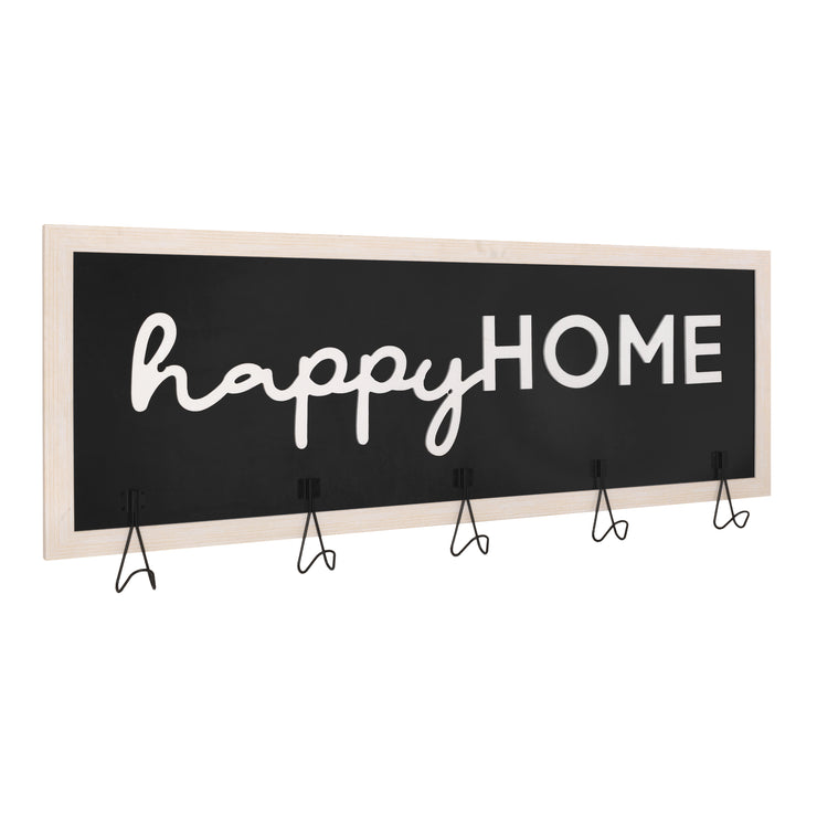 "Rustic ""Happy Home"" Framed Coat Rack"