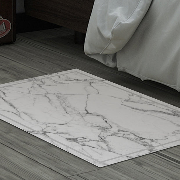 2' x 3' Decorative Vinyl Floor Mat White Marble - Rockfeller