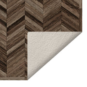 2' x 3' Decorative Vinyl Floor Mat Wood Chevron - Marquetry