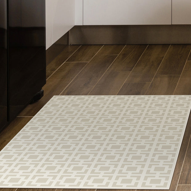 2' x 3' Decorative Vinyl Floor Mat Mosaic Tile - Classic Neutral