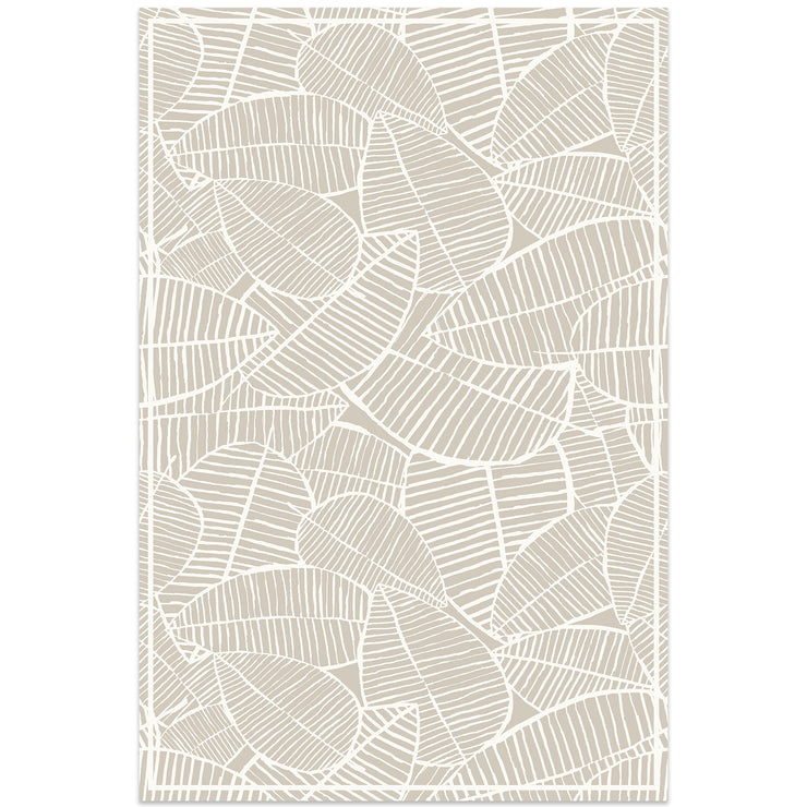Classic Neutral Tropical Leaf Decorative Vinyl Floor Mat - 2' x 3'