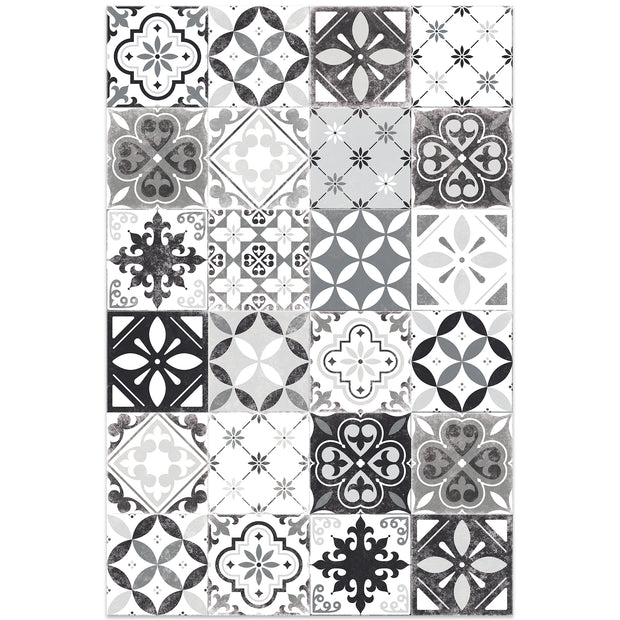 2' x 3' Indoor Vinyl Floor Mat Tile Pattern - Classic Neutral