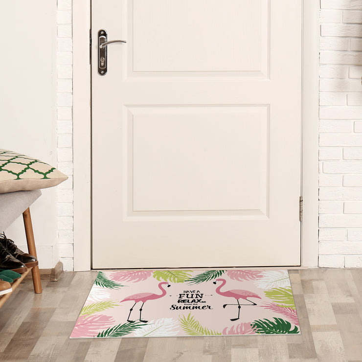 Exotic Tropical Flamingo Print Vinyl Floor Mat - 2' x 3'