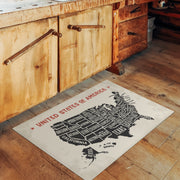 States Map of the USA Indoor Vinyl Floor Mat - 2' x 3'