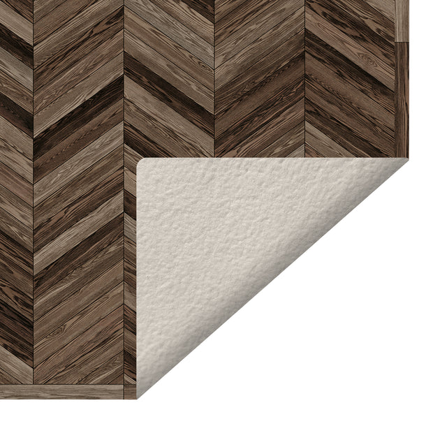 Marquetry Wood Chevron Decorative Vinyl Floor Mat - 2' x 5'