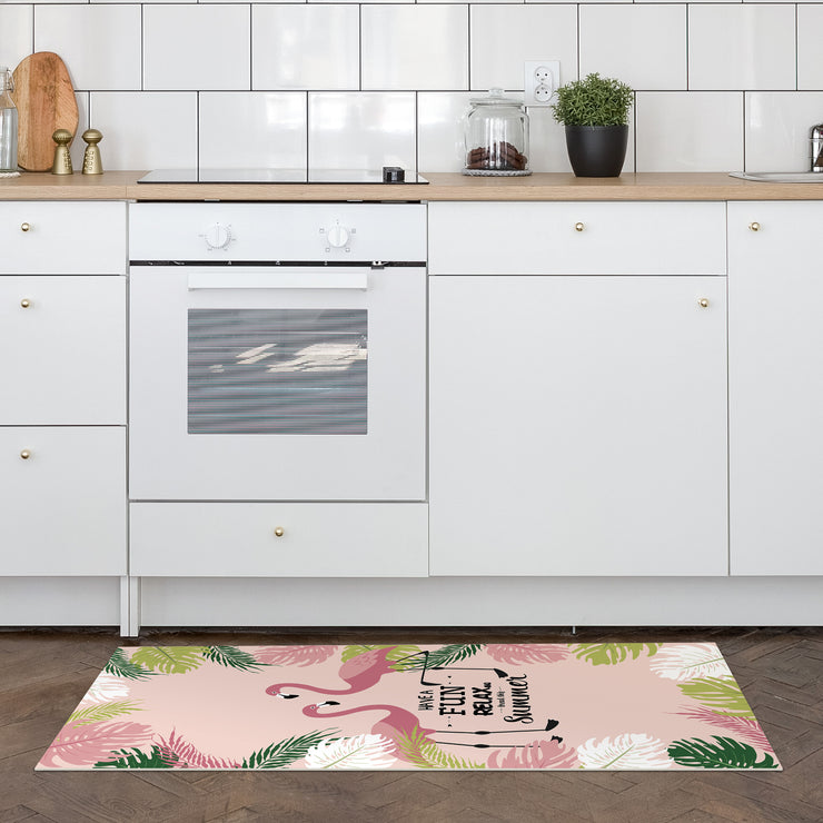 Exotic Tropical Flamingo Print Vinyl Floor Mat - 2' x 5'