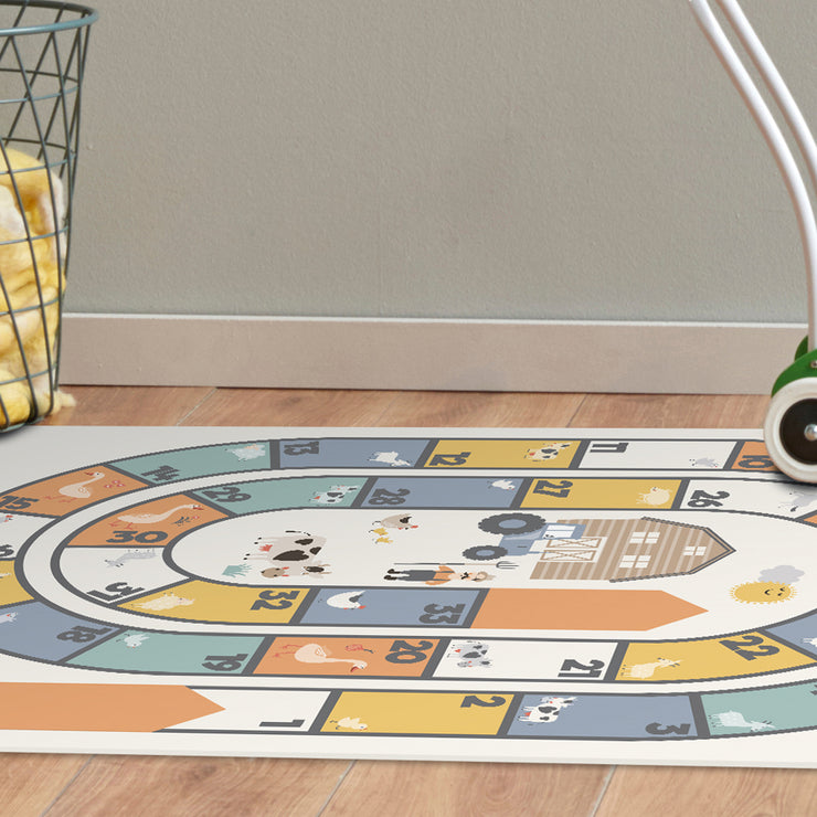 Farmhouse Hopscotch Vinyl Floor Mat – 2' x 5'