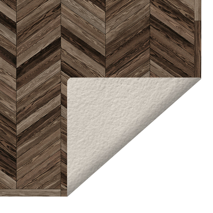 Marquetry Wood Chevron Decorative Vinyl Floor Mat - 4.5' x 6.5'
