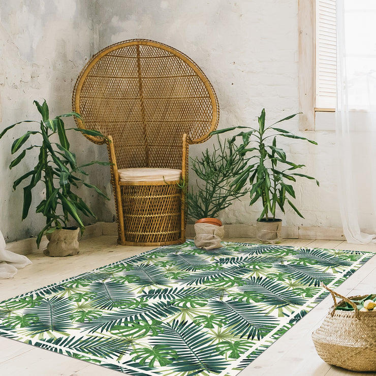 Tropical Leaf Pattern Vinyl Floor Mat - 4.5' x 6.5'