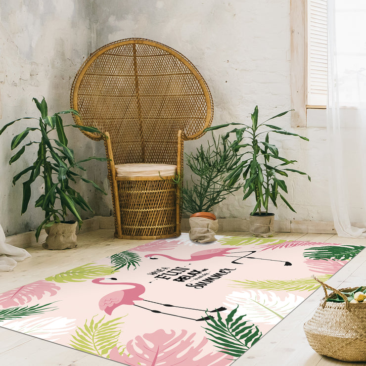 Exotic Tropical Flamingo Print Vinyl Floor Mat - 4.5' x 6.5'