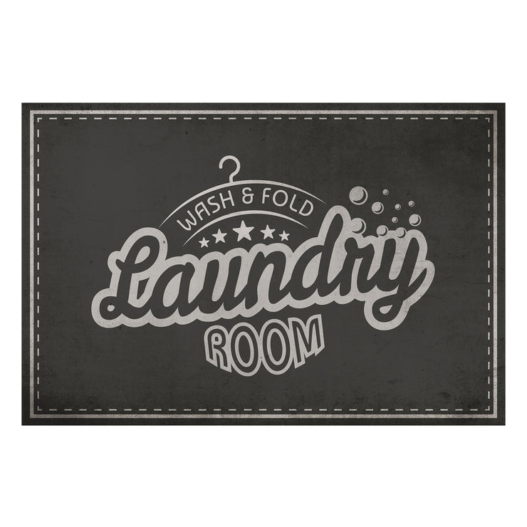 Retro Laundry Room Wash & Fold Decorative Vinyl Floor Mat - 2' x 3'