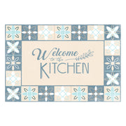 Blue Welcome to the Kitchen Decorative Vinyl Floor Mat - 2' x 3'