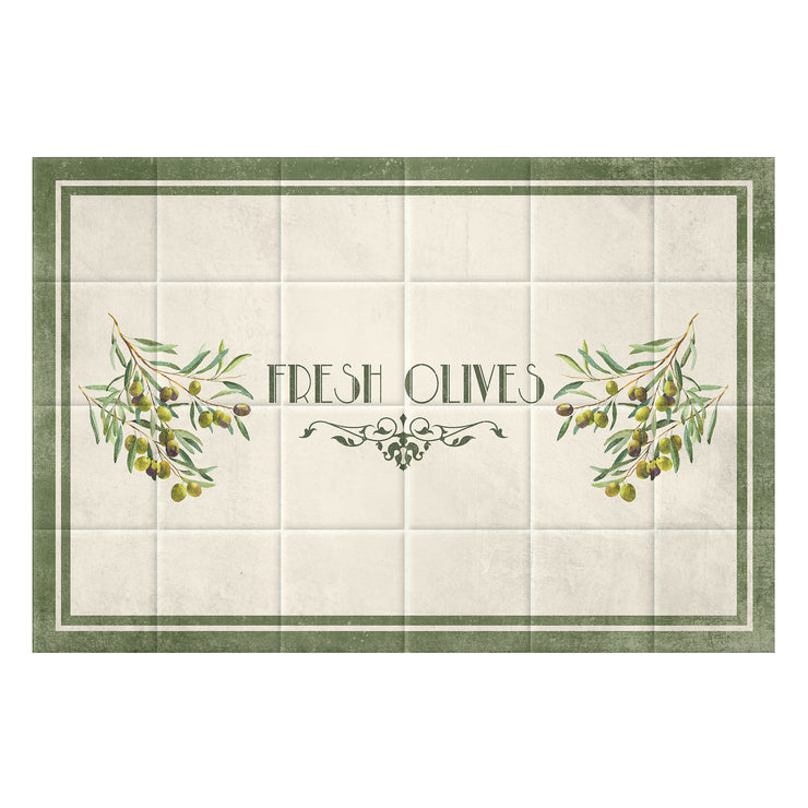 Faux Tiles Fresh Olives Decorative Vinyl Floor Mat - 2' x 3'