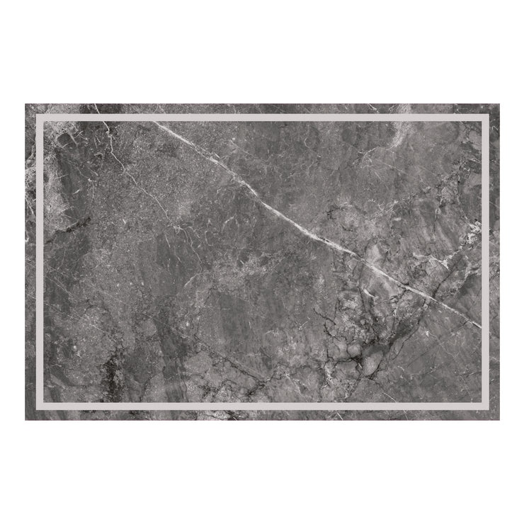Dark Grey Marble Border Decorative Vinyl Floor Mat - 2' x 3'