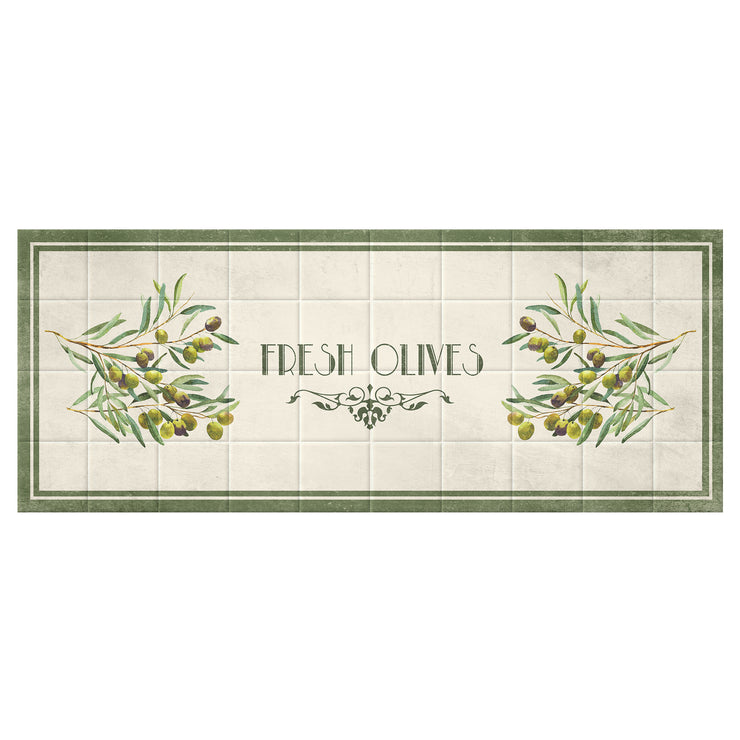Faux Tiles Fresh Olives Decorative Vinyl Floor Mat - 2' x 5'