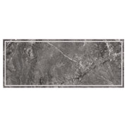 Dark Grey Marble Border Decorative Vinyl Floor Mat - 2' x 5'