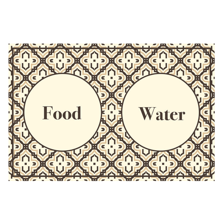 "Beige Mosaic Pattern Food and Water Pet Floor Mat - 15.5"" x 23"""