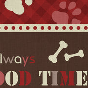 "Red It's always FOOD TIME Pet Decorative Vinyl Floor Mat - 15.5"" x 23"""