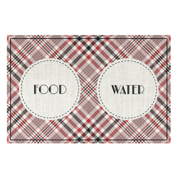 Geometic Plaid Pattern Food and Water Pet Floor Mat - 1.6' x 2.4'
