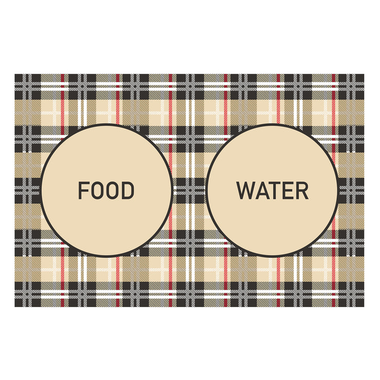 Beige Plaid Food and Water Pet Decorative Floor Mat - 1.6' x 2.4'