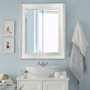 Camden White Antiqued Beveled Wall Vanity Mirror