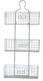 Metal Meshed Wire 3 Bin Storage Baskets