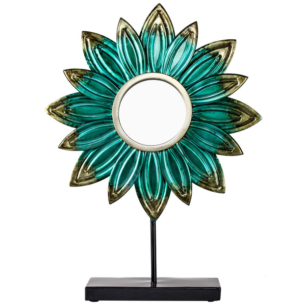 Turquoise Metal Flower Sculpture