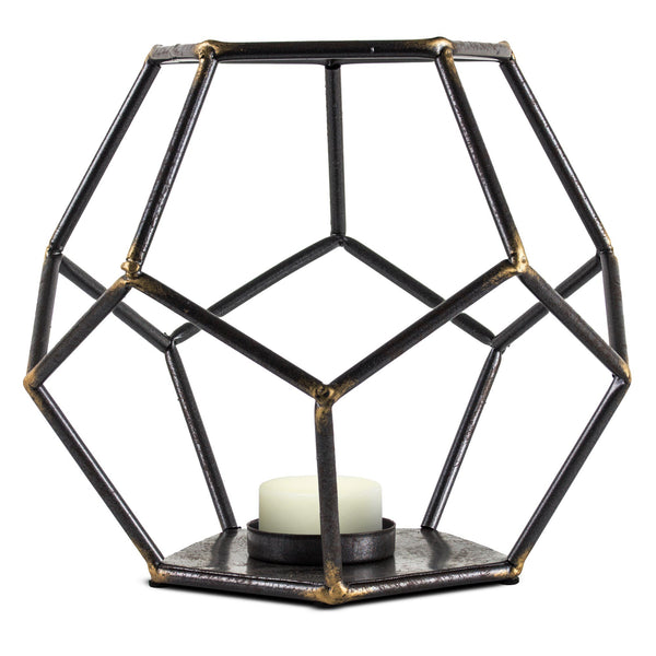 "Geometric Metal Candle Holder (7"" H)"