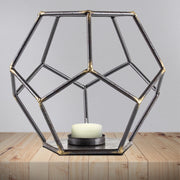"Geometric Metal 7"" Candle Holder"